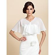 כורכת חתונה Capelets שרוול קצר שיפון לבן מסיבה / ערב פתח חזית