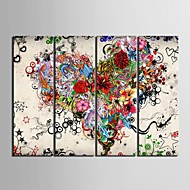 Stretched Canvas Art  Colored Hearts  Set of 4