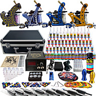Solong Tattoo Complete Tattoo Kit 4 Pro Machines 54 Inks Power Supply Foot Pedal Needles Grips Tips TK453