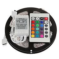 Z®ZDM 5M 300X3528 SMD RGB LED Strip Light with 24Key Remote Controller (DC12V)