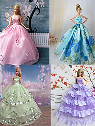 Princess Dresses For Barbie Doll Purple / Blue Dresses For Girl's Doll Toy
