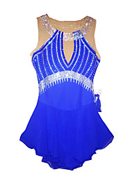 Ice Skating Dress Women's Sleeveless Skating Dresses Figure Skating Dress Blue Skating Wear Classic Sports