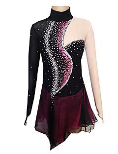 Ice Skating Dress Women's / Girl's Long Sleeve Skating Skirts & Dresses Figure Skating Dress Spandex Black / Purple Skating Wear