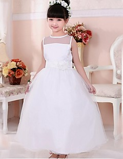 Girl's White Flower Bow Tie Tulle Long Party Pageant Wedding Bridesmaid Princess Kids Clothing Cute Dresses