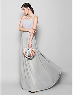 Lanting Bride Floor-length Chiffon Bridesmaid Dress Sheath / Column Scoop Plus Size / Petite with Draping
