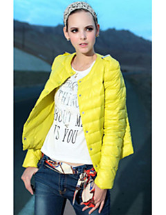 Women's Solid Red / Black / Green / Yellow Parka Coat , Casual Stand Long Sleeve