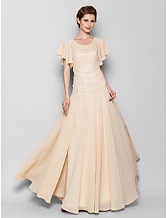 fbc97d35f7 Lanting Bride® Szűk szabású Molett / Filigrán Örömanya ruha Földig érő  Rövidujjú Sifon - Gyöngydíszítés