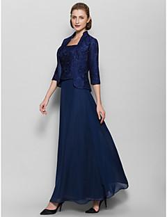 Lanting Bride Ankle-length Chiffon Bridesmaid Dress Sheath / Column Square with Pattern / Print