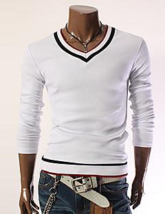 ccd7056c52cd Ανδρικά Γραφείο Βαμβάκι   Πολυεστέρας Συνδυασμός Χρωμάτων Μακρυμάνικο  T-shirt-Μαύρο   Κόκκινο