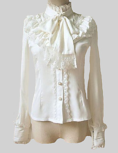 Retro Style Stand Collar Long Sleeve White Chiffon Classic Lolita Blouse