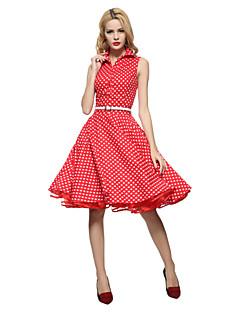 475c1a980b8c Γυναικεία Βίντατζ Swing Φόρεμα,Πουά Αμάνικο Κολάρο Πουκαμίσου Ως το Γόνατο  Μπλε / Κόκκινο /