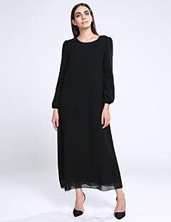7f67859c4e06c Kadın Kumsal Salaş Elbise Solid,Uzun Kollu Yuvarlak Yaka Maksi Mavi /  Kırmızı / Siyah